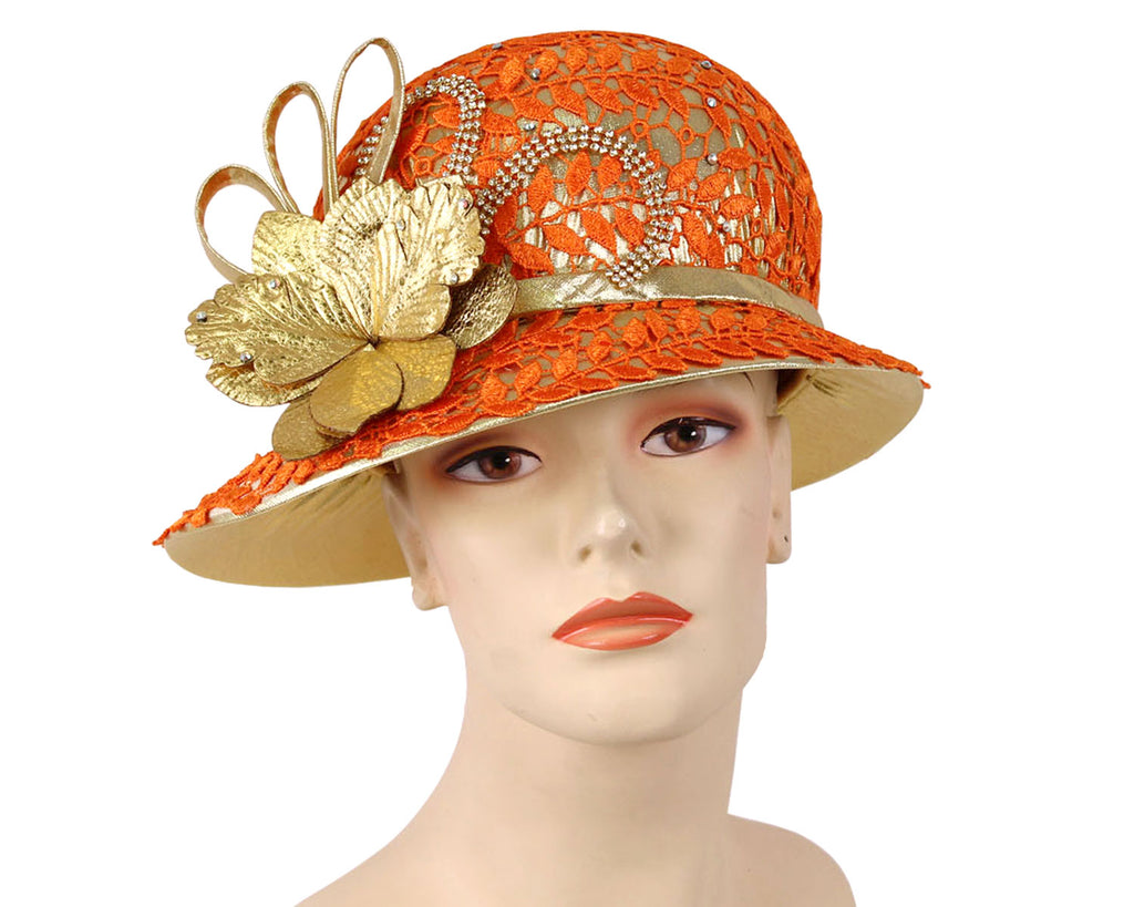 Ladies Gold Metallic Year round Church Derby Hats with orange lace overlay