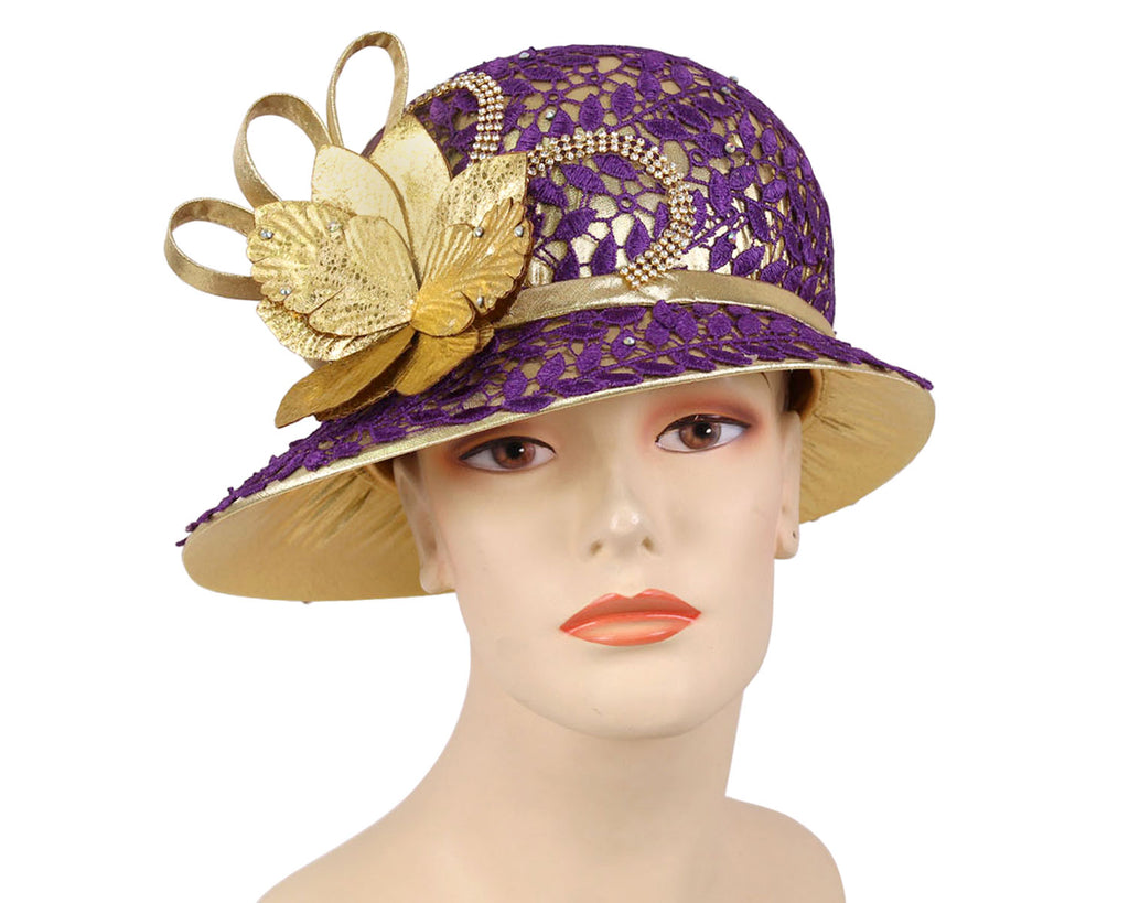 Ladies Gold Metallic Year round Church Derby Hats with purple lace overlay