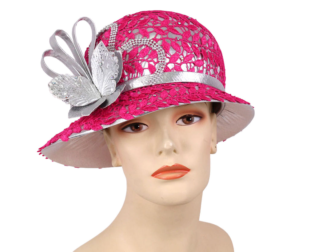 Ladies Silver Metallic Year round Church Derby Hats with fuchsia hot pink lace overlay