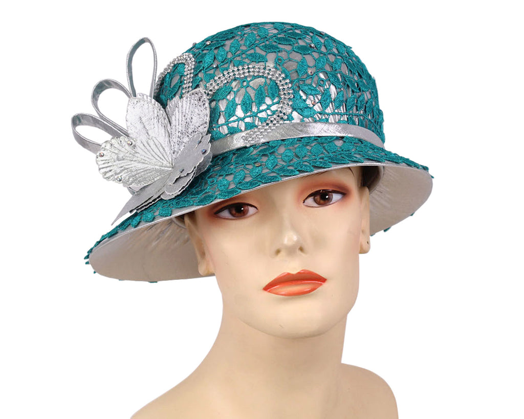 Ladies Silver Metallic Year round Church Derby Hats with teal lace overlay
