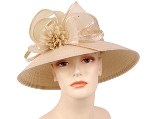 Women's Straw Derby Church Fascinator Hats, Beige - 3704