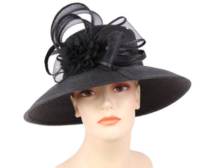 Women's Straw Derby Church Fascinator Hats, Black  - 3704