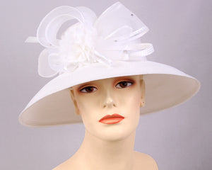 Women's Straw Derby Church Fascinator Hats, White - 3704