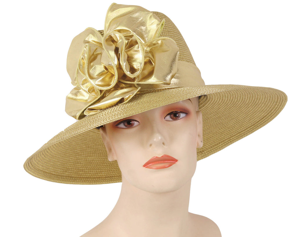 Women's Gold Metallic Straw Church Derby Hats with Ruffles