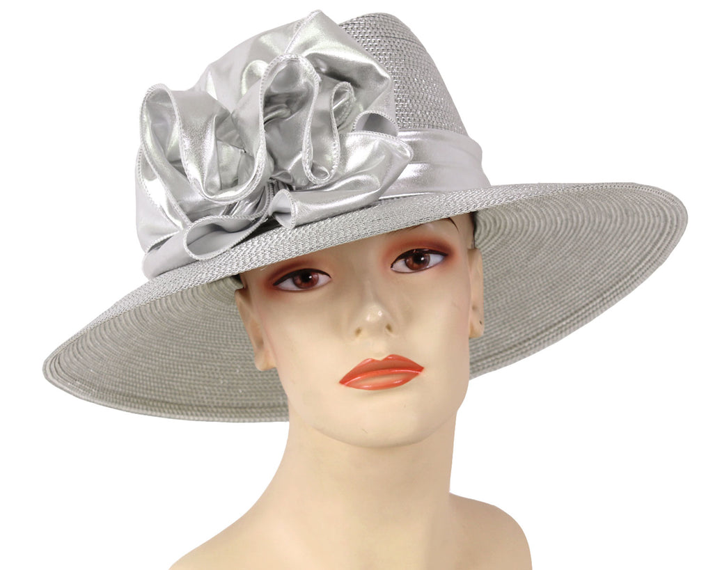 Women's Silver Metallic Straw Church Derby Hats with Ruffles