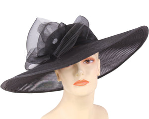 Women's Wide Brim Mesh Derby Church Hats, Black - 4237