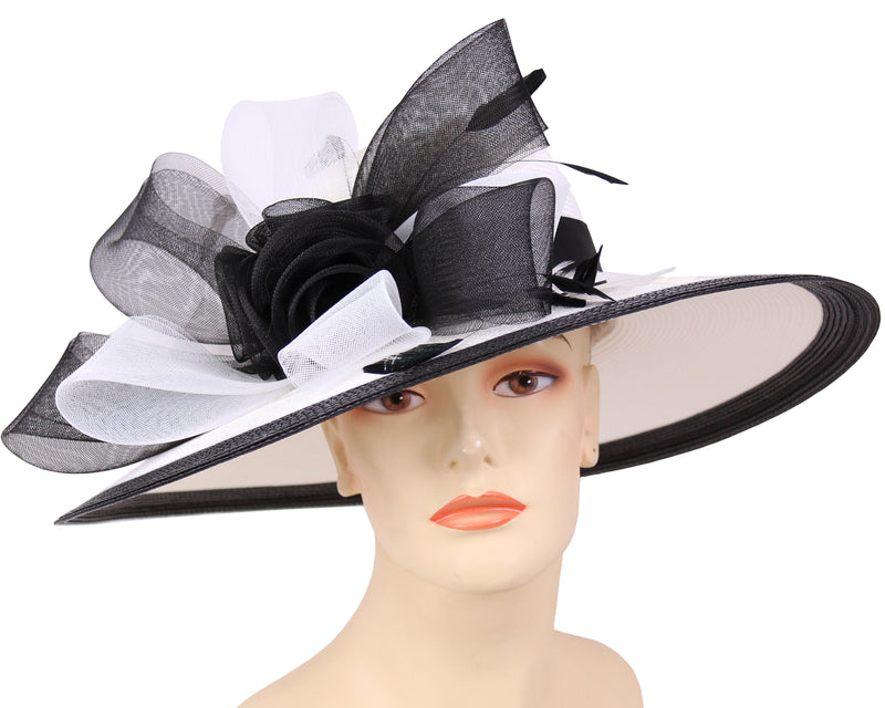 Women's Straw Derby Church Hats in White and Black - 4336