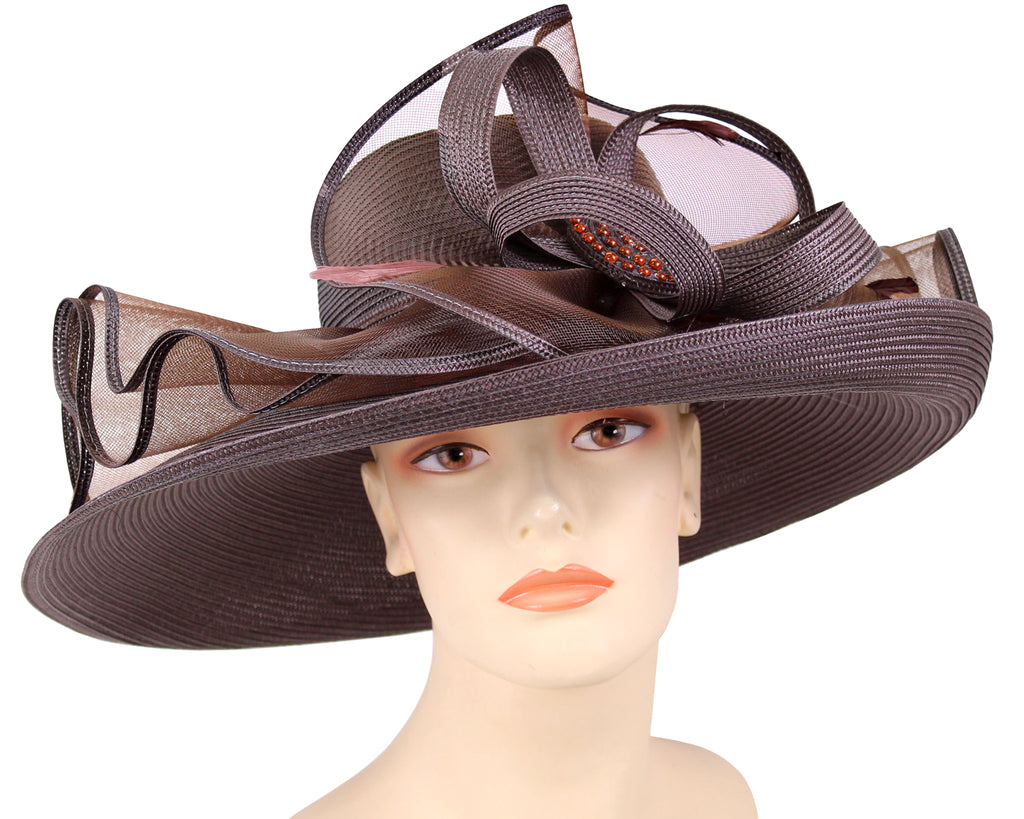 Women's Dark Brown Straw Derby Church Hats