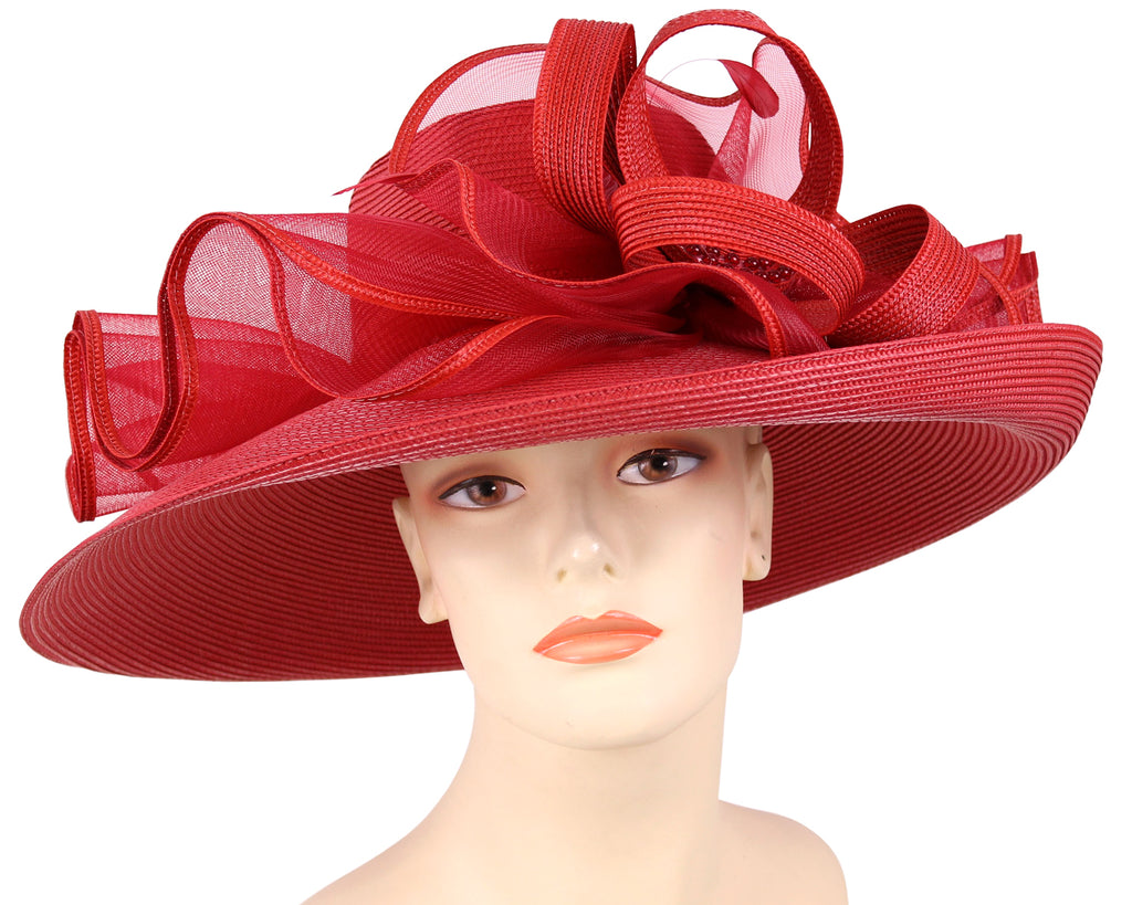 Women's Crimson Red Straw Derby Church Hats