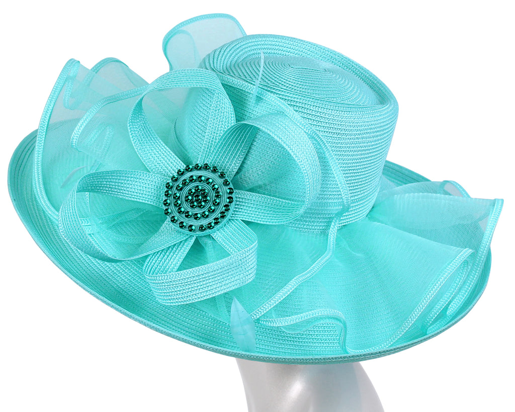 Women's Sky Blue Straw Derby Church Hats