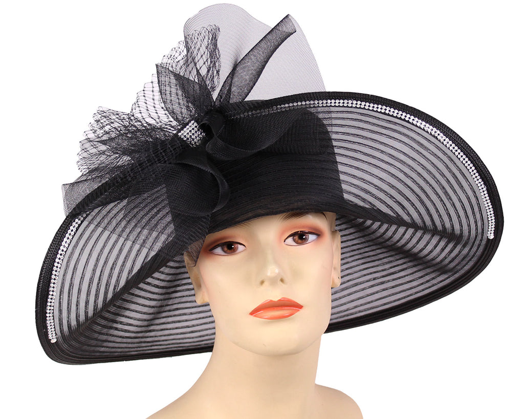 Women's Black Wide Brim Mesh Church Derby Wedding Hats