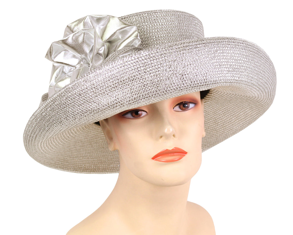 Women's Metallic Straw Church Derby Hats - 4727