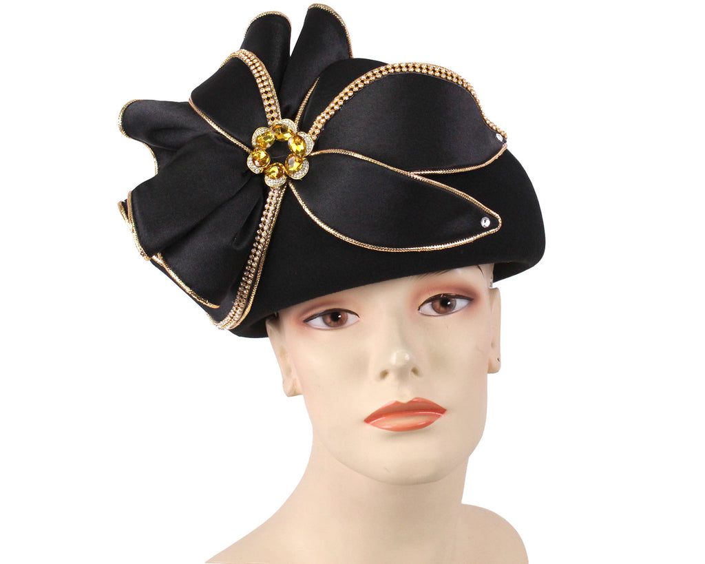 Women's Wool (Felt) Pill-box Church Hats in Black and Gold