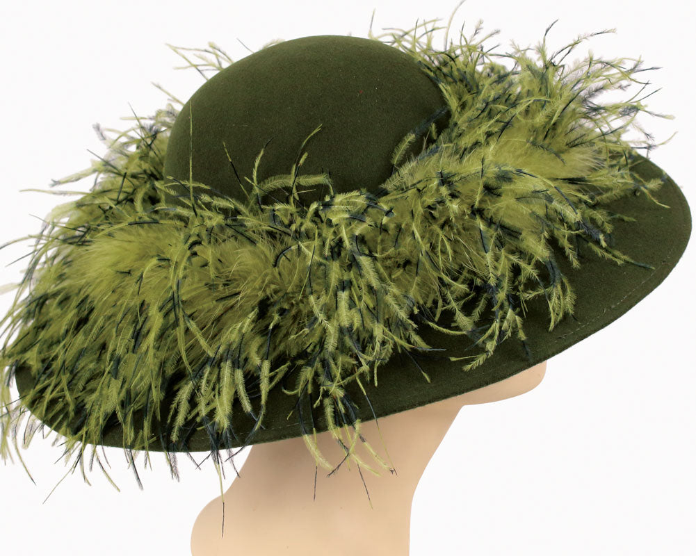 Women's Simple Olive Green Felt Church Hats with mixed color Ostrich Feather around Crown
