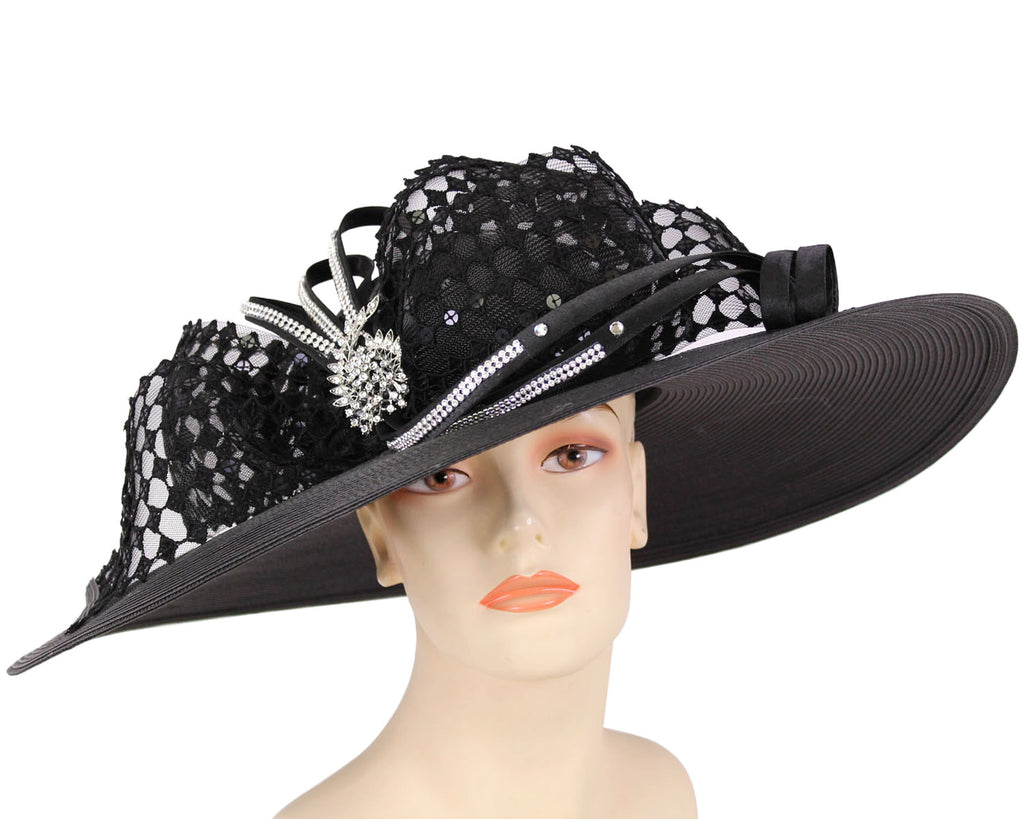 Women's Large Brim Black Straw Kentucky Derby and Church Hats