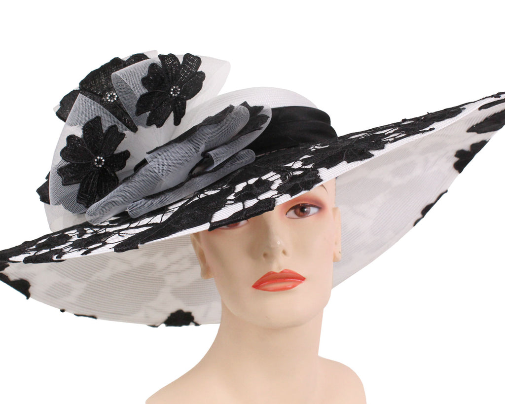 Women's Large Brim White Straw Kentucky Derby Church Hats with Black Lace