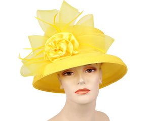Women's Church Derby Hats, Yellow - 7005