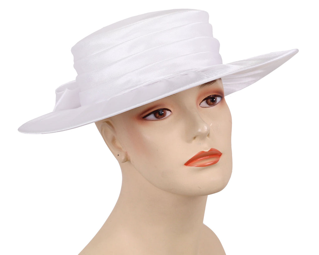 Women's Year round simple Pleated White Satin Church Hats