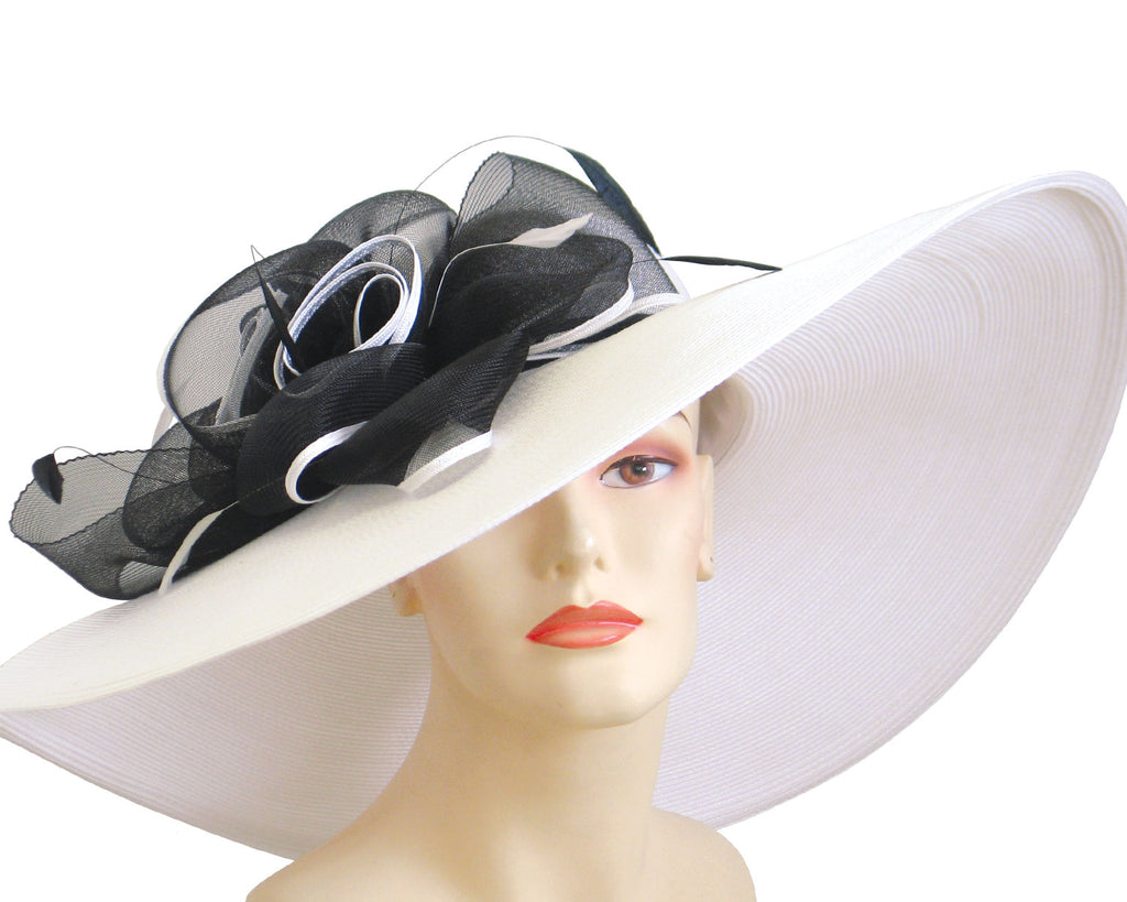 Wide Brim Women's Straw Derby Church Hats in white with black ribbon flowers