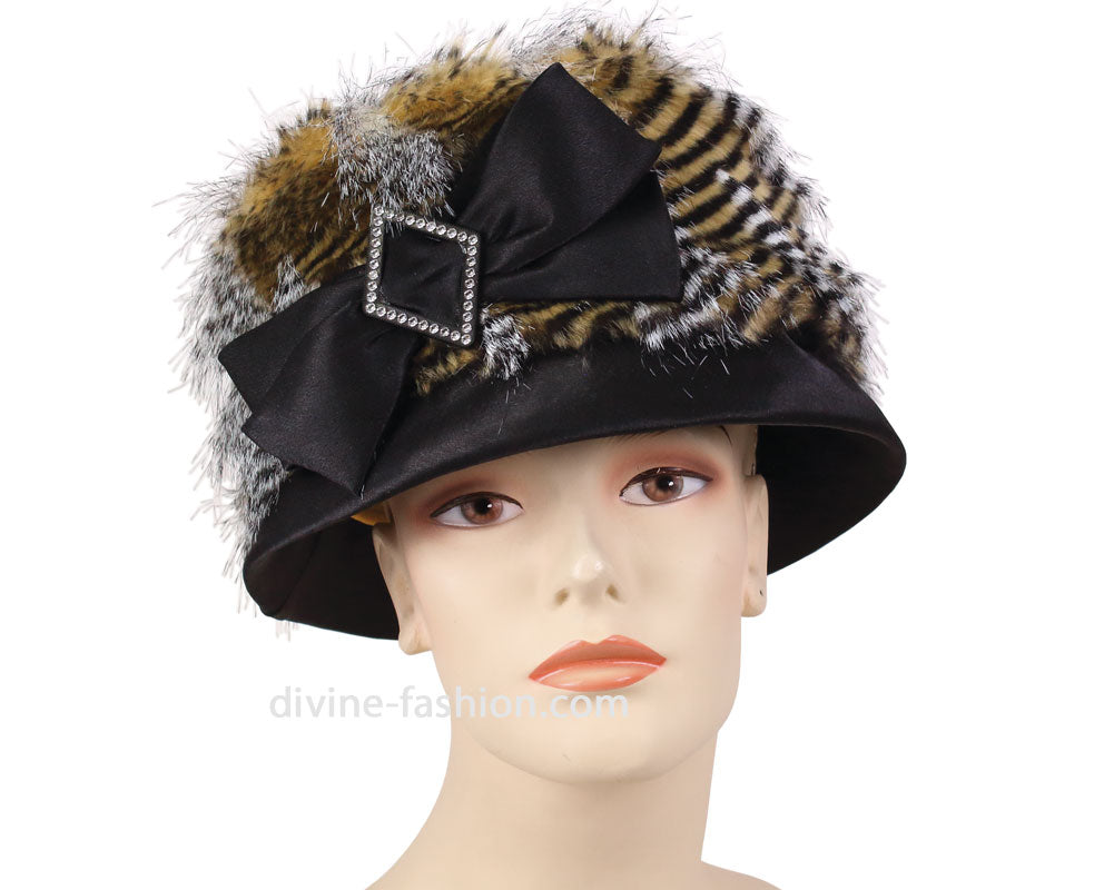 Women's Year-round Church Hats in Black and Gold