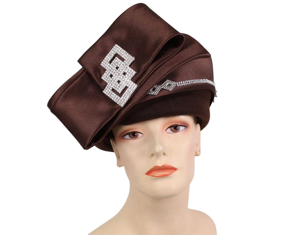 Women's Brown Satin Band covered Wool Pill box Church Hats with folded bow