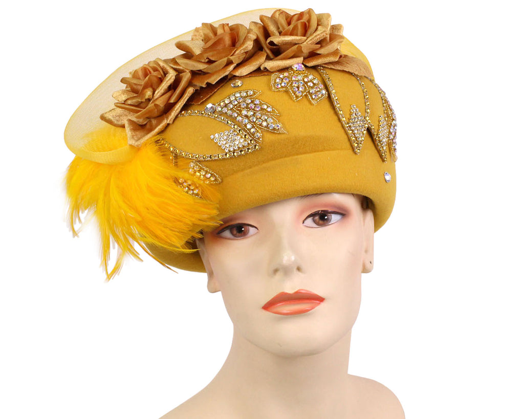 Women's Yellow Gold Wool Pill box Church Hats with feathers