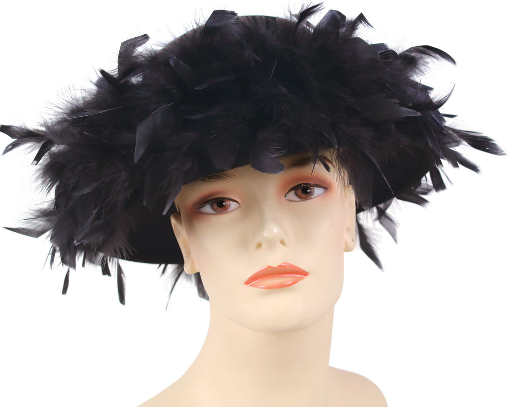 Women's Black Felt Church Hats with feathers and fur