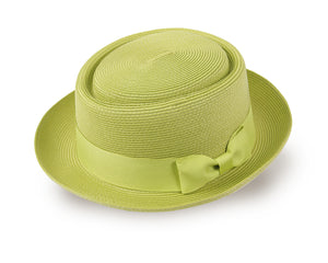 Straw Pork Pie Panama Hat for Men and Women - Pistachio Green (93032)