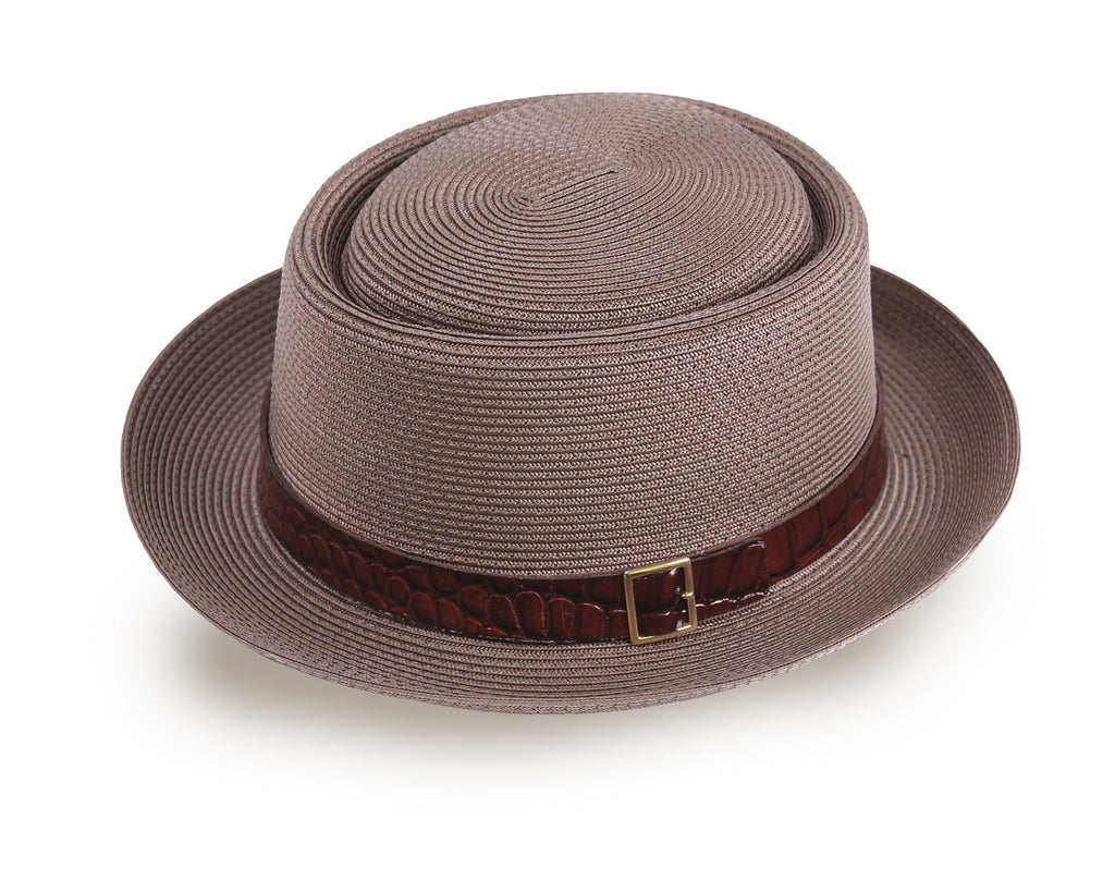 Straw Pork Pie Panama Hat for Men and Women - Brown (93034) - Free Shipping