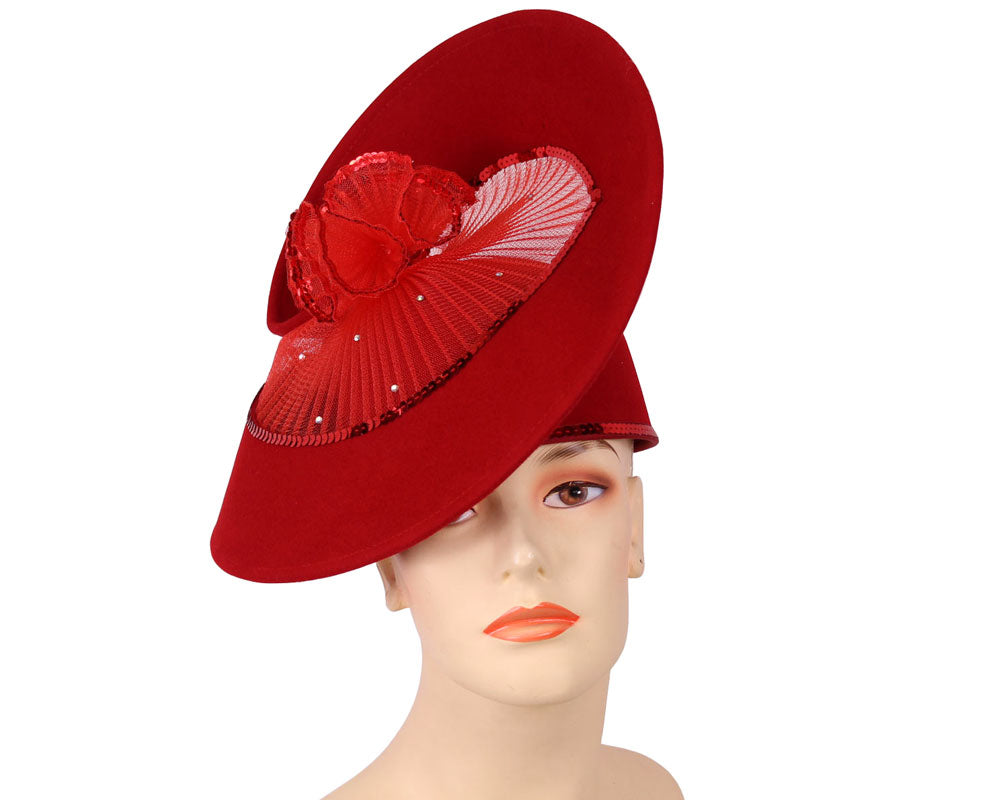 Red Wool Dress Church Hats for Women with Round Panel Top