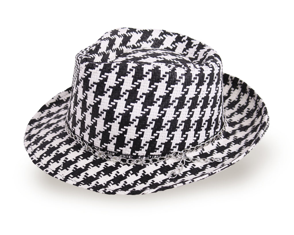 Fedora Hat for Men and Women - White/Black  (977A) - Free Shipping