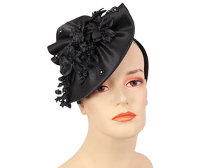 Women's Satin Fascinator Church Hats in Black