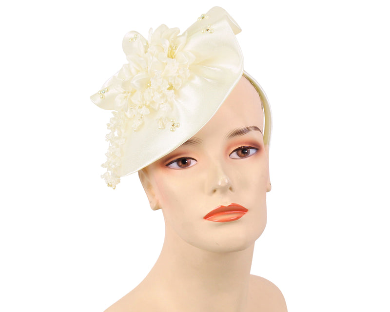 Women's Satin Fascinator Church Hats in Ivory Cream