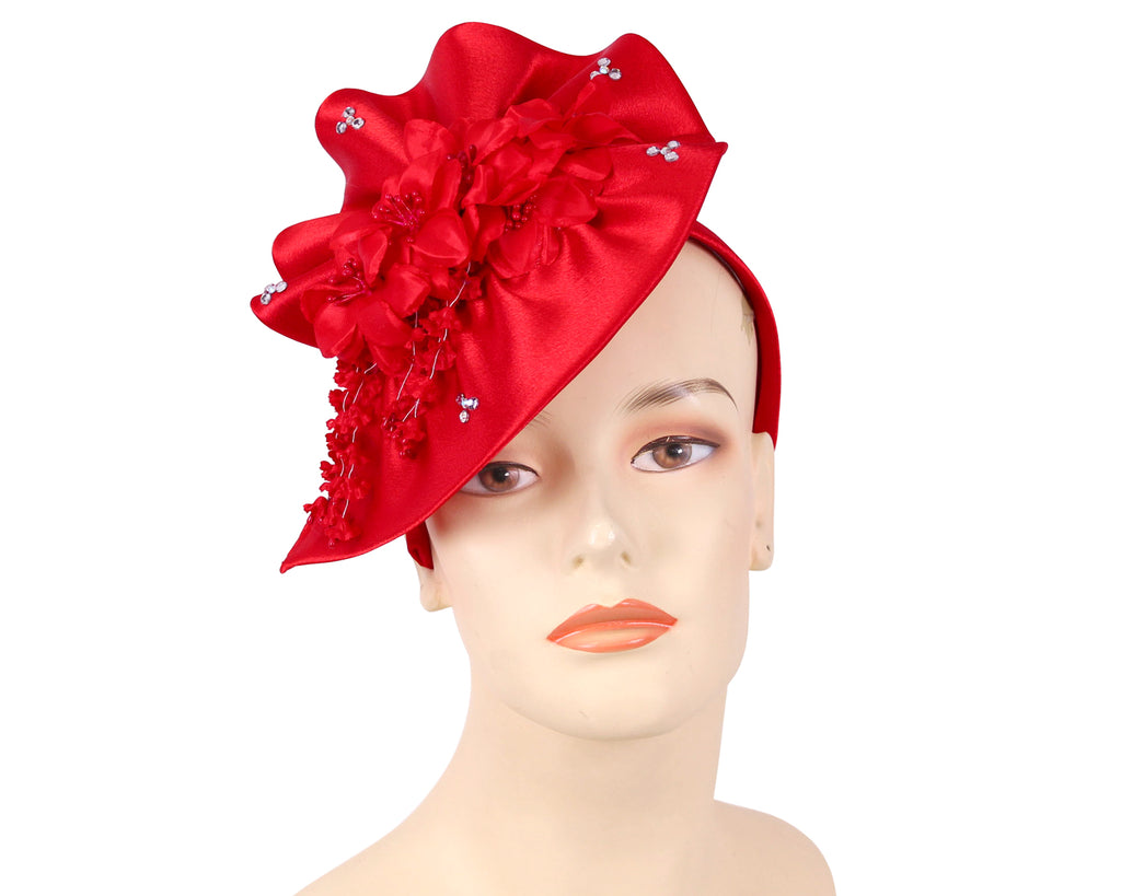 Women's Satin Fascinator Church Hats in Red