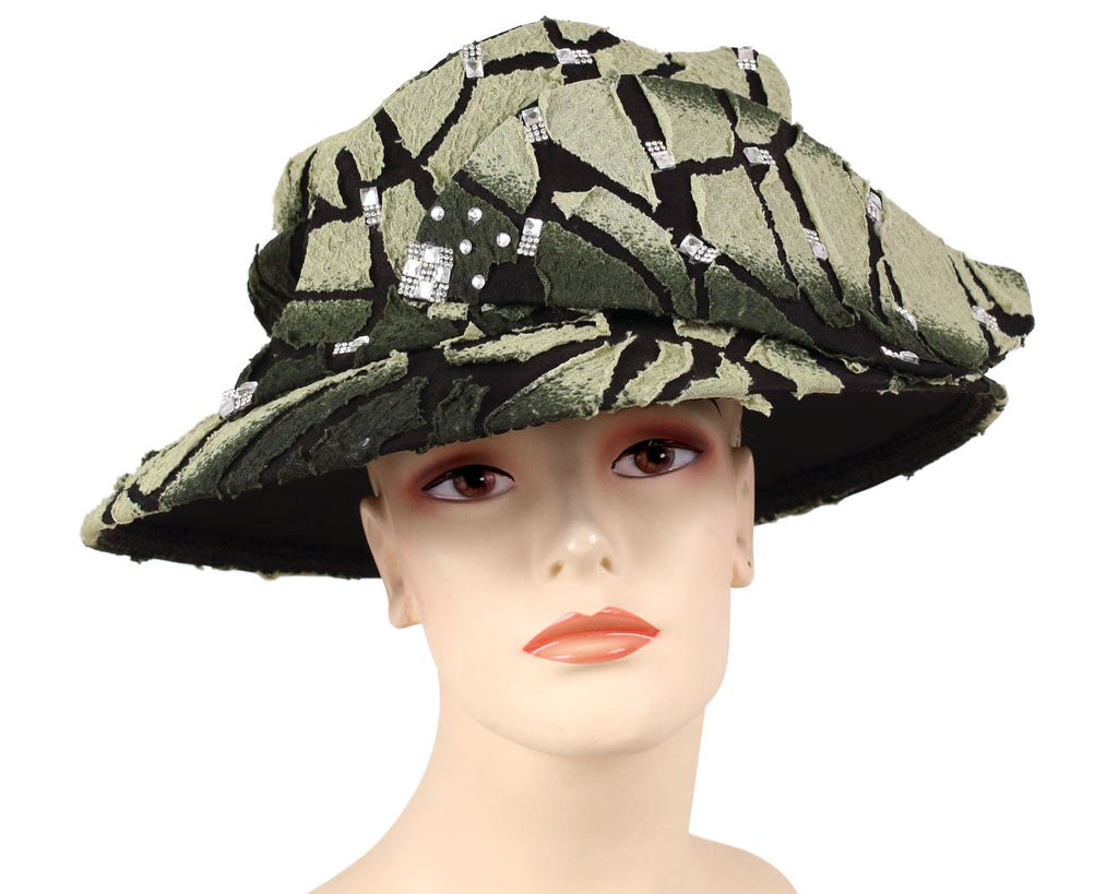Women's Year round Church Hats with Black and Olive cracked pattern