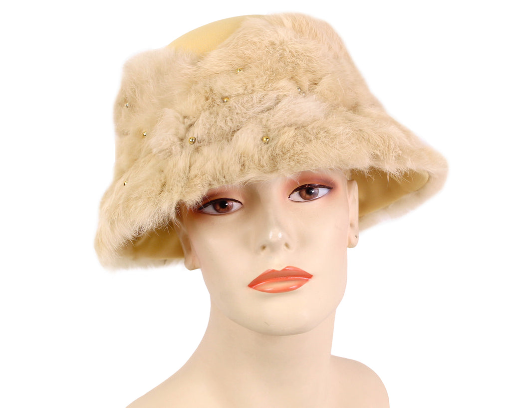 Women's Beige Buckram Church Hats Real Fur Covered