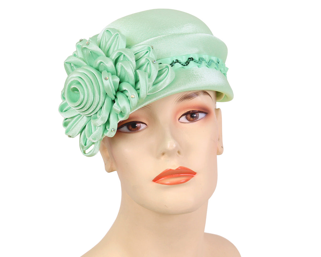 Women's Church Hats in Jade Green