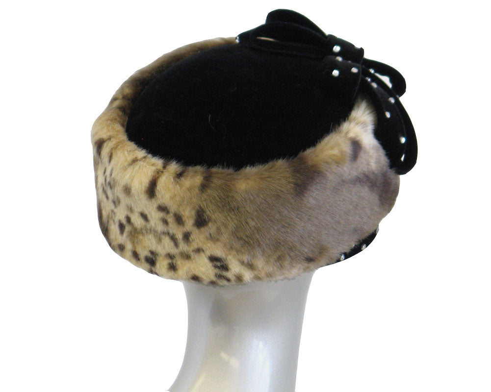 Women's Animal Pattern Fur Church Hats - H347