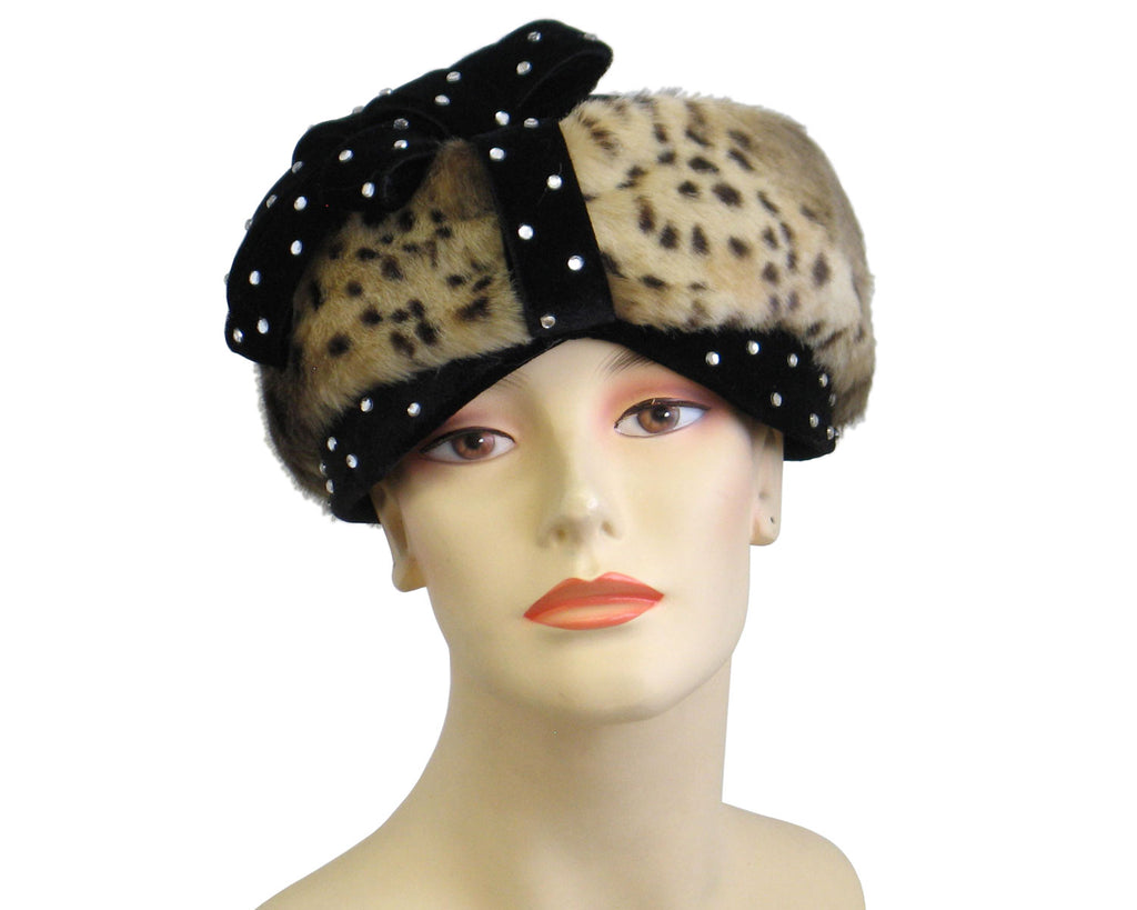 Women's Animal Pattern Fur Church Hats in Black Animal patterned fur