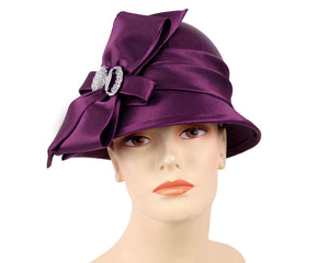 Women's Plum Satin Ribbon Dress Church Hats