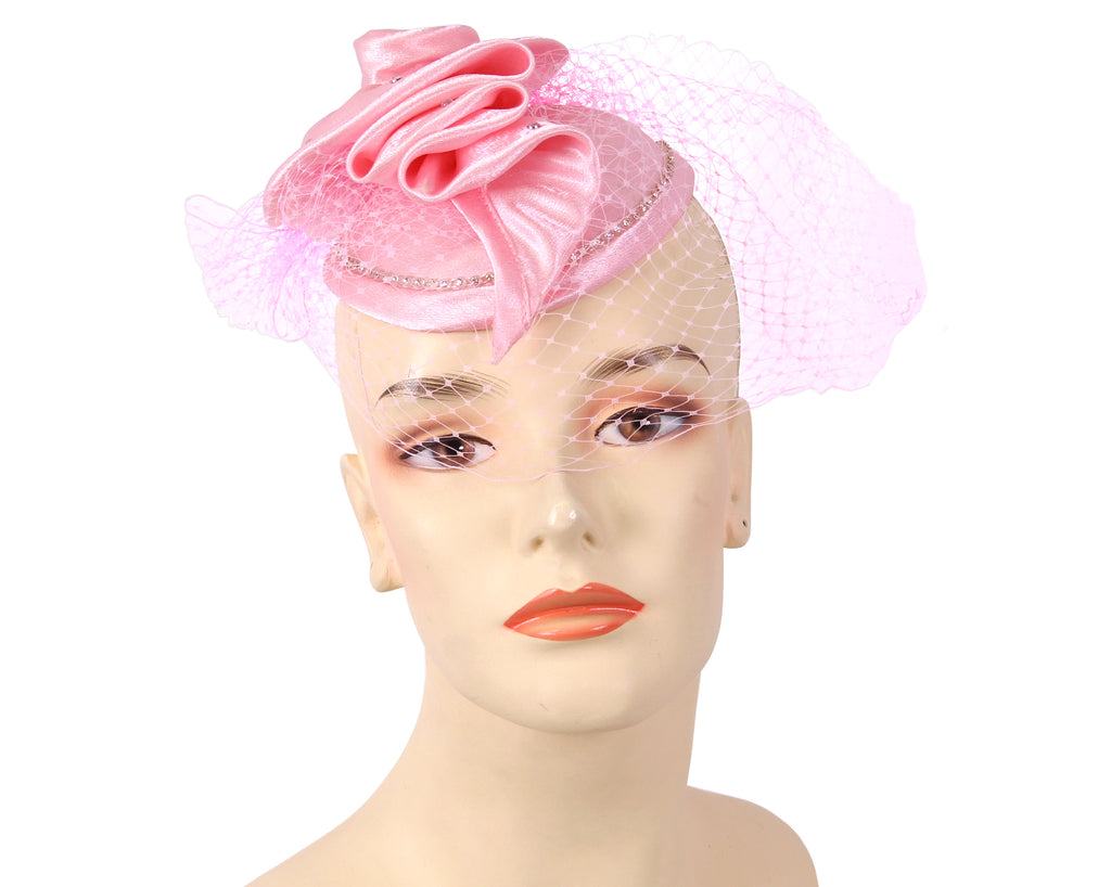 Women's Satin Fascinator Hat in Pink