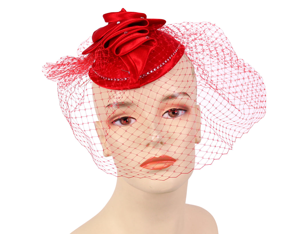 Women's Satin Fascinator Hat in Red