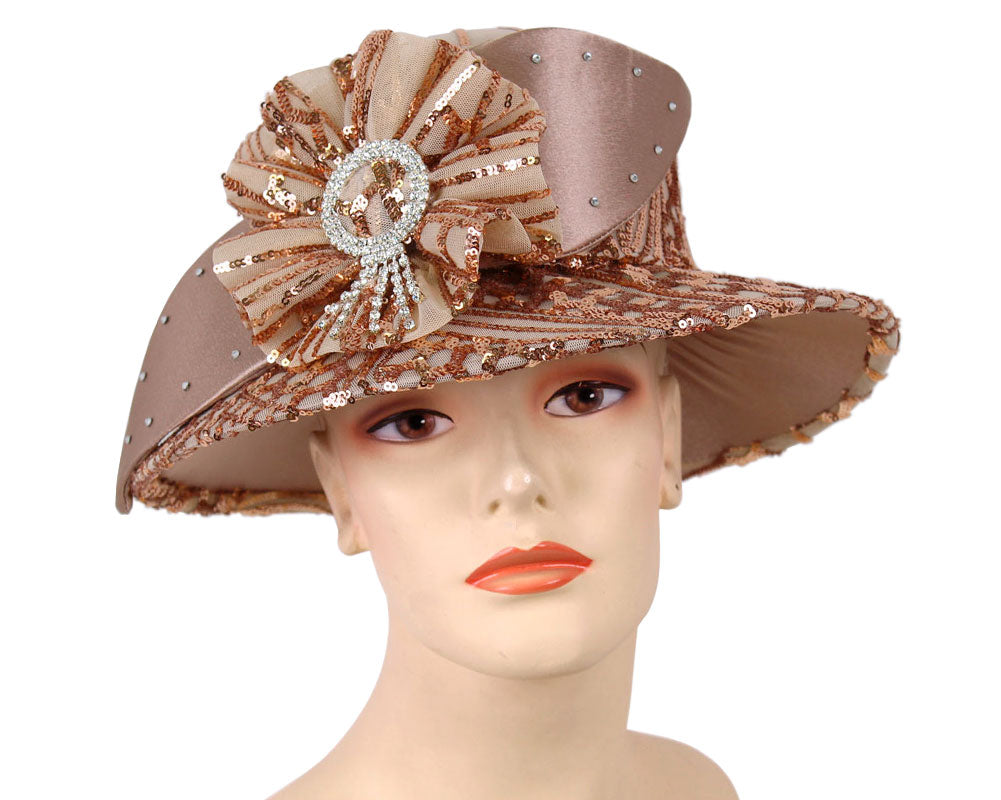 Women's Mocha Satin with Sequins covered Year round Church Derby Hats