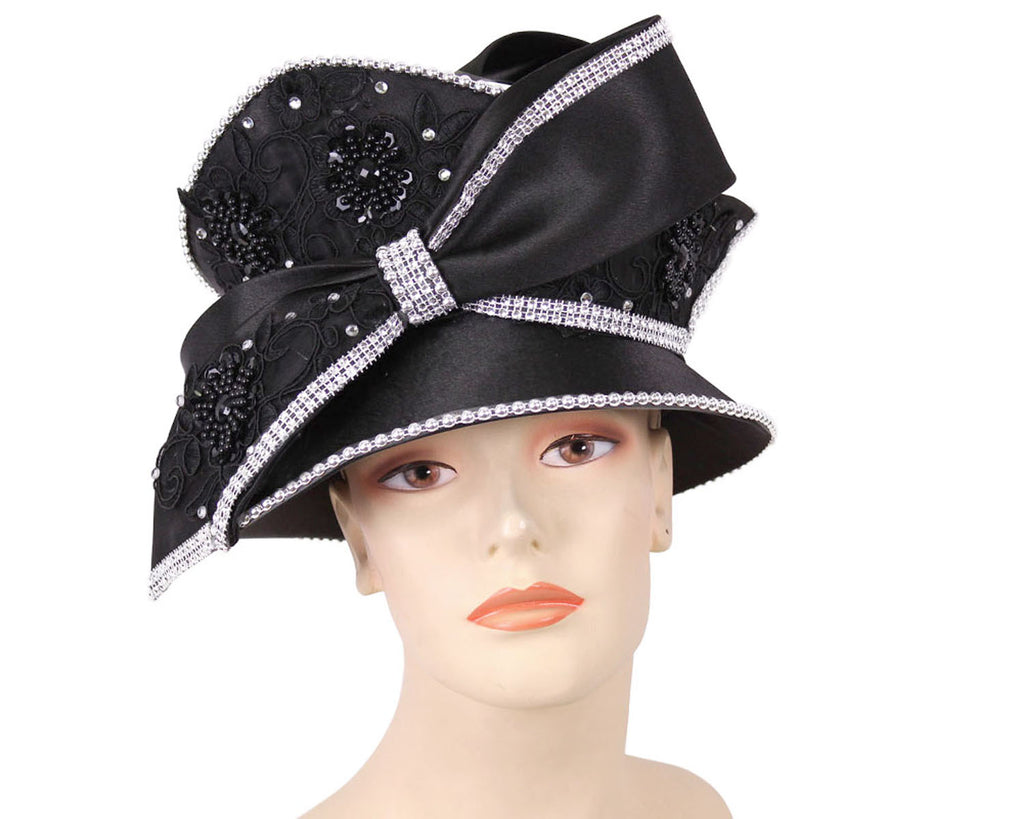 Women's Satin Church Hats in Black
