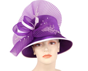 Women's Satin Church Derby Hats in Purple