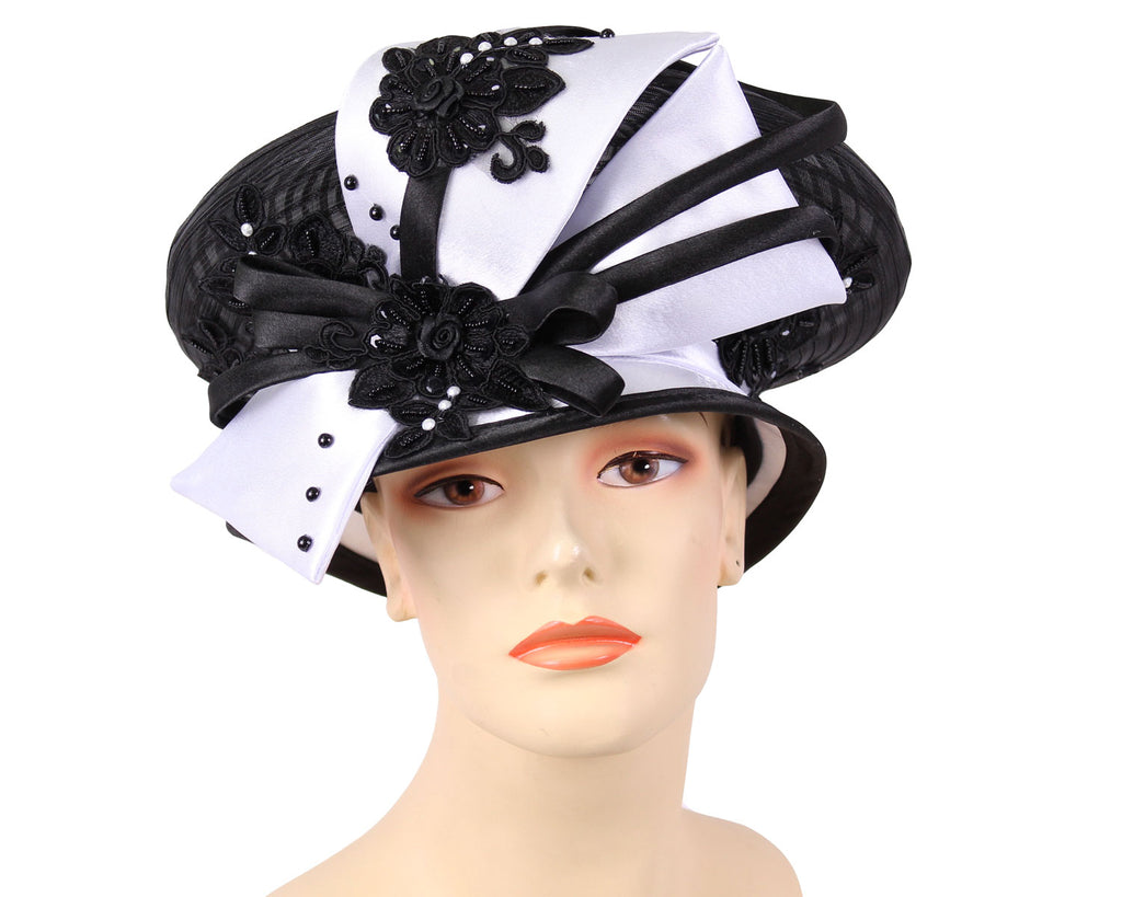 Women's Mesh Church Derby Hats in Black and White