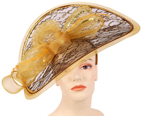 Women's Formal Church Hats in Gold/Black