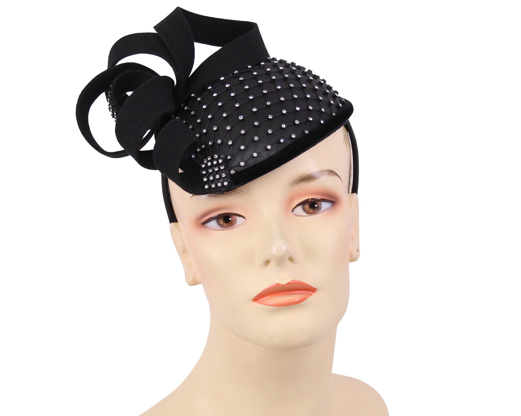 Women's Satin Fascinator Hats in Black,