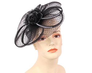 Women's Fascinator Church Hats in Black and Silver