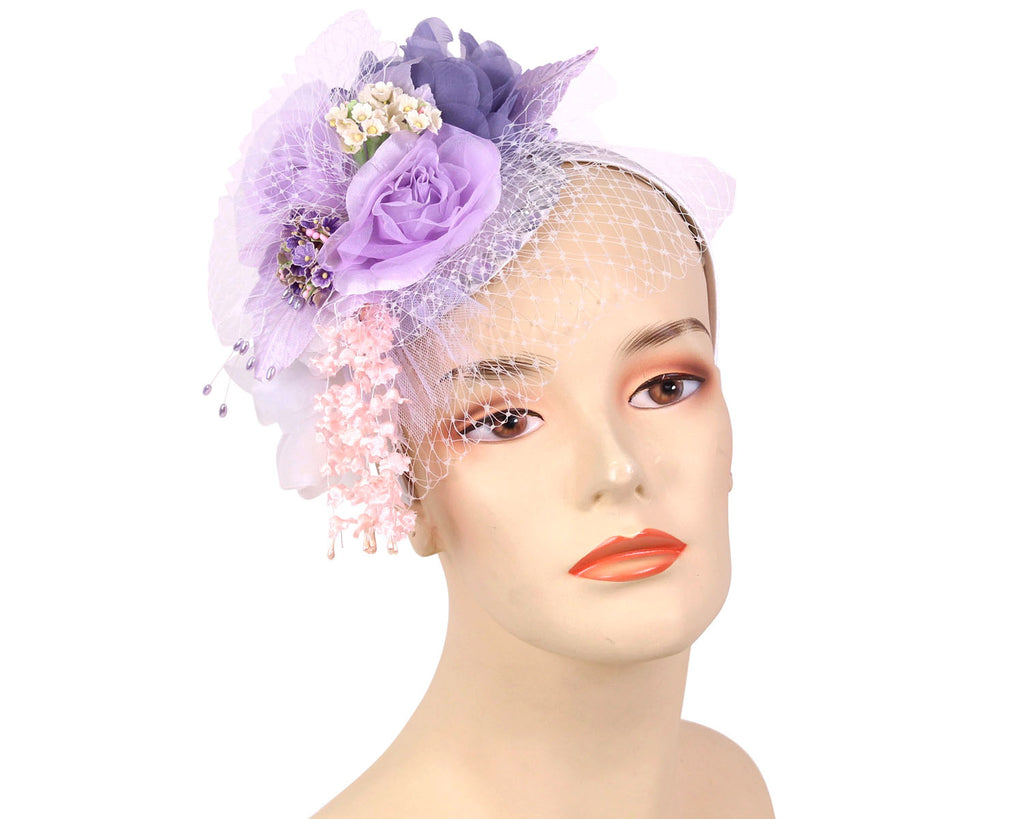 Women's Church Derby Fascinator Hats in Lilac/Lavender/White